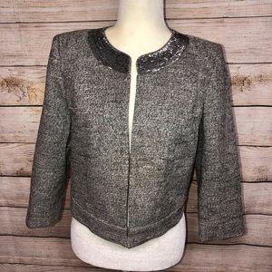 LOFT Tweed Cropped Gray Sequin Collar Blazer